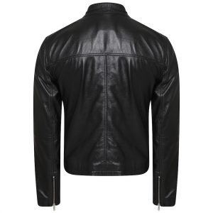 This image shows a Barneys Originals Men's Vintage Look Real Leather Biker Jacket with a Tab Collar. This image focuses on the back of the jacket.