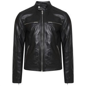 This image shows a Barneys Originals Men's Vintage Look Real Leather Biker Jacket with a Tab Collar