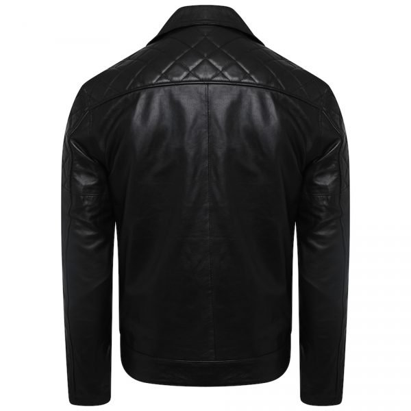 This image shows a Barneys Originals Men's Classic Real Leather Asymmetric Biker Jacket with Diamond Stitching on Arms. This image focuses on the back of the jacket.