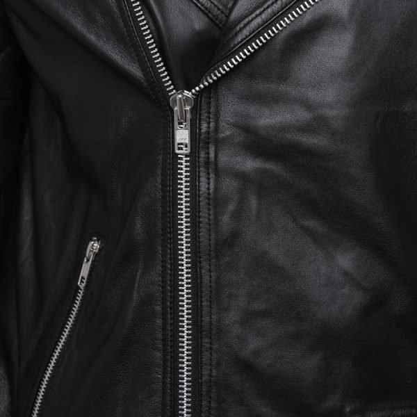This image shows a Barneys Originals Men's Classic Real Leather Asymmetric Biker Jacket with Diamond Stitching on Arms. This image focuses on the chest and zip of the jacket.