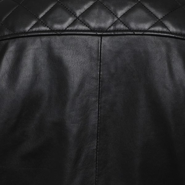 This image shows a Barneys Originals Men's Classic Real Leather Asymmetric Biker Jacket with Diamond Stitching on Arms.. This image focuses on the diamond stitching on the shoulders of the jacket.