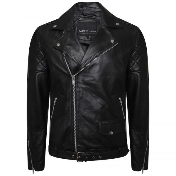This image shows a Barneys Originals Men's Classic Real Leather Asymmetric Biker Jacket with Diamond Stitching on Arms.