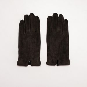This image shows Barneys Originals Men's Real Suede Gloves in Dark Brown