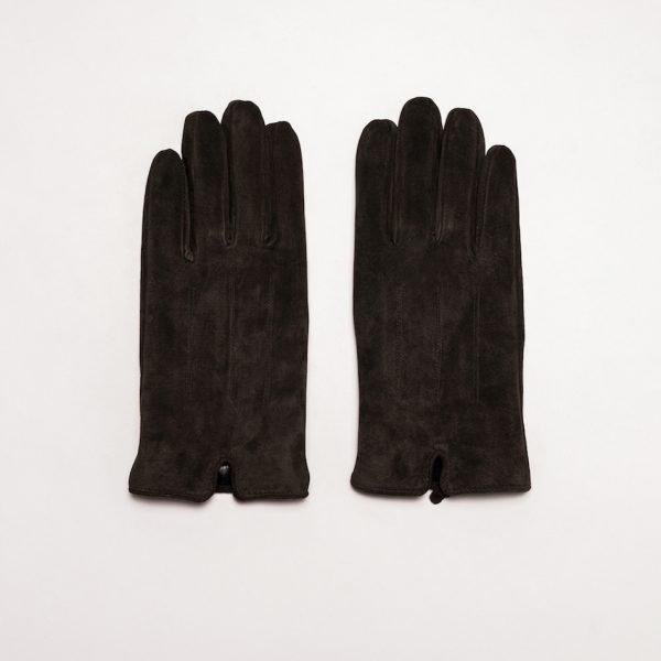 This image shows Barneys Originals Men's Real Suede Gloves in Dark Brown
