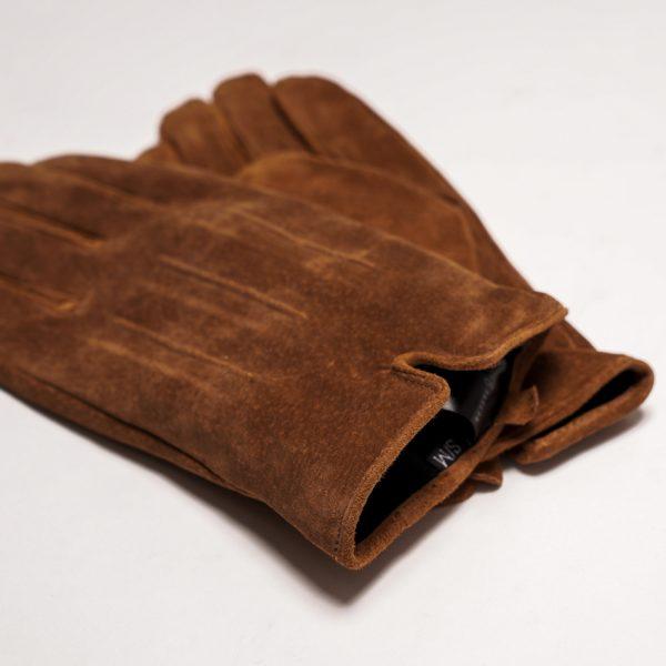 This image shows Barneys Originals Men's Real Suede Gloves in Dark Tan