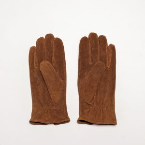 This image shows Barneys Originals Men's Real Suede Gloves in Dark Tan