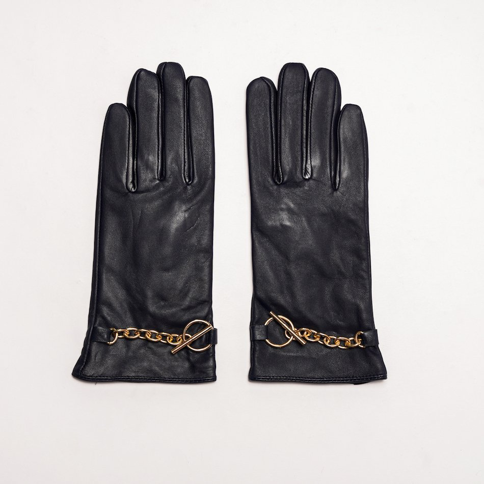 This image shows Barneys Originals Women's Real Leather Gloves in Navy