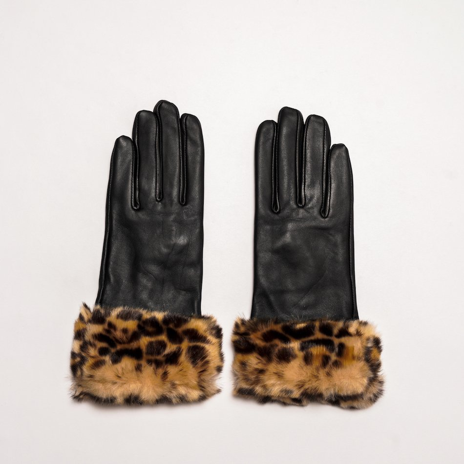 This image shows Womens Black Barneys Originals Leopard Print Leather Gloves With Cosy Lining