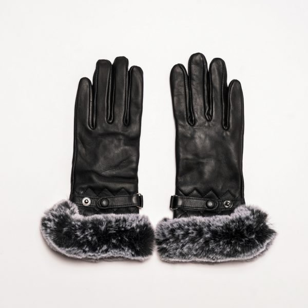 This image shows Barneys Originals Women's Real Leather Gloves in Black