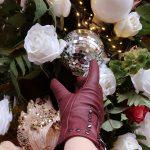 Red/Burgundy studded leather gloves candid shot – Barneys Originals