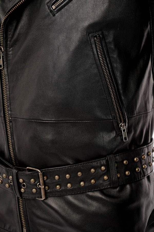 This image shows a Barneys Originals, men's studded leather jacket being worn by our model. This image focuses on the studded waist belt.