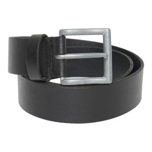 This image shows a Barneys Originals Men's Real Leather Black Belt with a Metallic Grey Buckle