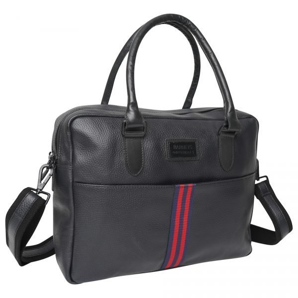 This image shows a Barneys Originals Real Leather Messenger Bag with Red & Navy Stripe