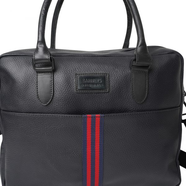 This image shows a Barneys Originals Real Leather Messenger Bag with Red & Navy Stripe. This image focuses on the front of the bag.