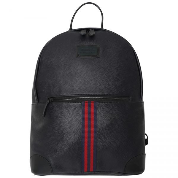 This image shows a Barneys Originals Real Leather Backpack with Red & Navy Stripe.