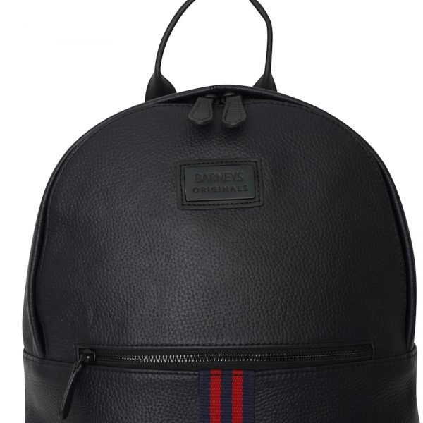 This image shows a Barneys Originals Real Leather Backpack with Red & Navy Stripe. This photo shows a zoomed in on front and stripe of the bag.