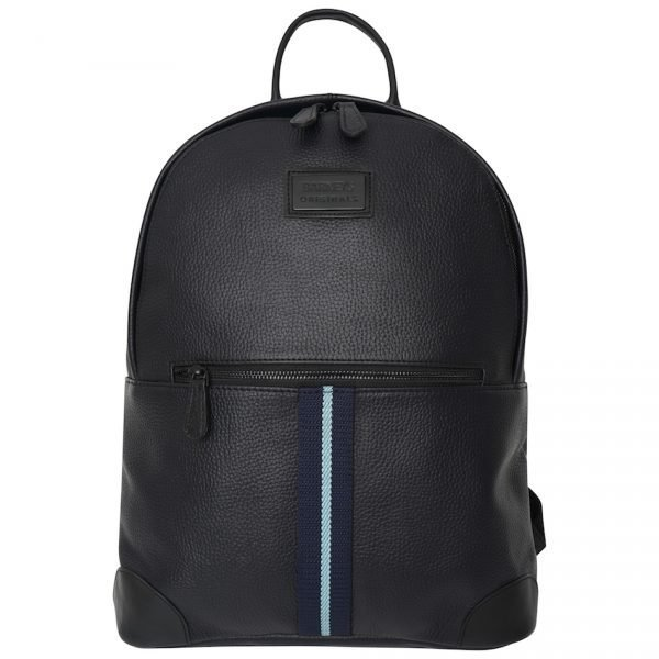 This image shows a Barneys Originals Real Leather Backpack with a Navy & Light Blue Stripe.