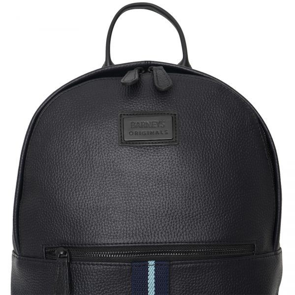 Real Leather Backpack with Navy & Light Blue Stripe. This image zooms in on the stripe and Barneys logo.