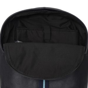 Real Leather Backpack with Navy & Light Blue Stripe. This image focuses on the inside of the bag.