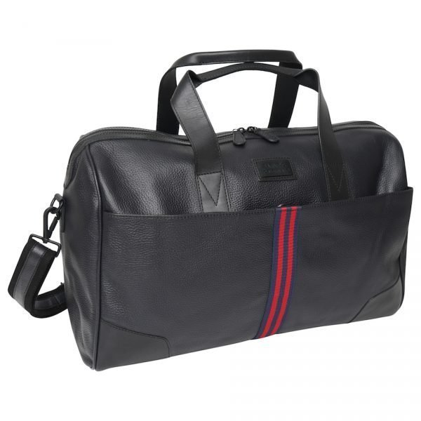 This image shows a Barneys Originals Real Leather Holdall Bag with a Red & Navy Stripe