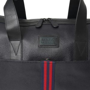 This image shows a Barneys Originals Real Leather Holdall Bag with a Red & Navy Stripe. This image focuses on the bag's stripe.