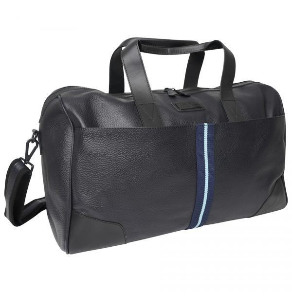 Real Leather Holdall Bag with Navy & Light Blue Stripe.