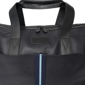 Real Leather Holdall Bag with Navy & Light Blue Stripe. This image focuses on the bag's stripe.