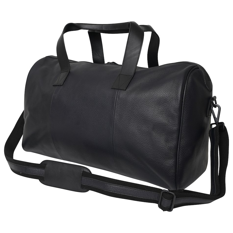 Real Leather Holdall Bag with Navy & Light Blue Stripe. This image focuses on the back of the bag,