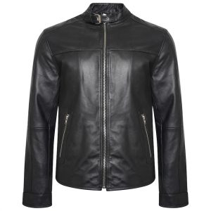 This image shows a Barneys Originals Men's Real Leather Biker Jacket with Buckled Collar