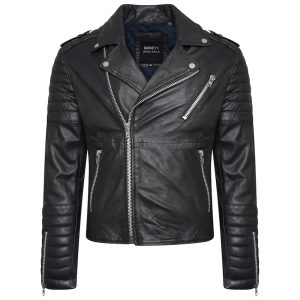 This image shows a Barneys Originals Men's Real Leather Biker Jacket With Padded Panels