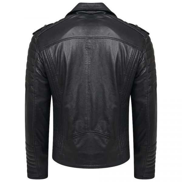 This image shows a Barneys Originals Men's Real Leather Biker Jacket With Padded Panels. The image focuses on the back of the jacket.
