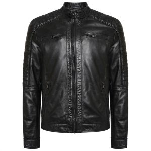This image shows a Barneys Originals Men's Real Leather Black Biker Jacket With Ribbed Padded Detail.