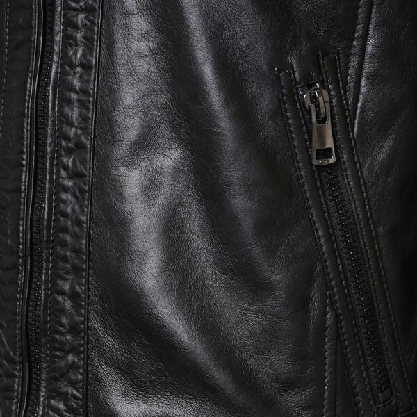 This image shows a Barneys Originals Men's Real Leather Black Biker Jacket With Ribbed Padded Detail. This image focuses on the zip pocket of the jacket.