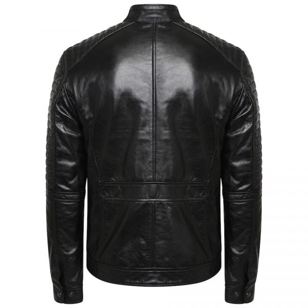 This image shows a Barneys Originals Men's Real Leather Black Biker Jacket With Ribbed Padded Detail. This image focuses on the back of the jacket.
