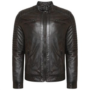 This image shows a Barneys Originals Men's Real Leather Brown Biker Jacket with Padded Detailing