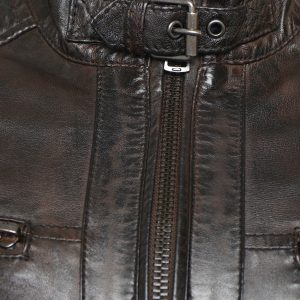 Men's Real Leather Brown Biker Jacket with Padded Detailing. This image focuses on the buckle collar.