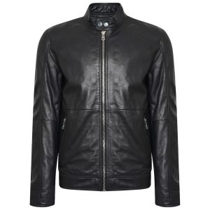 This image shows a Barneys Originals Men's Real Leather Biker Jacket with Tab Neck Collar.