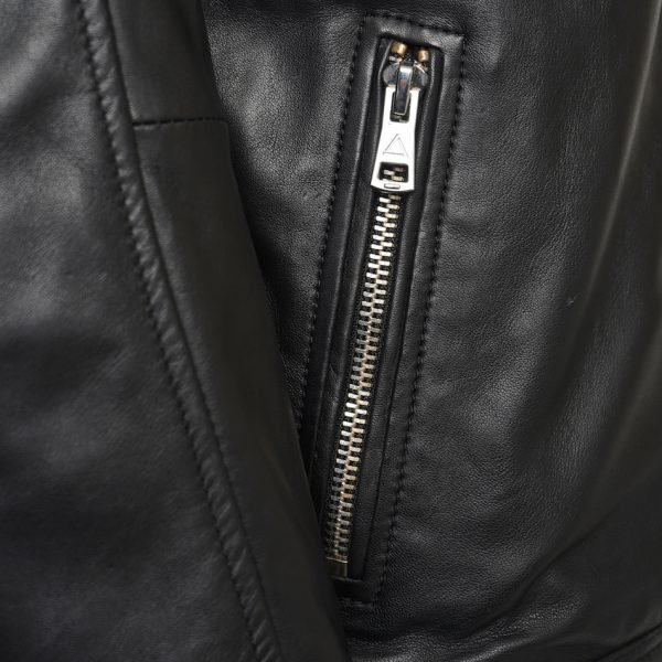 This image shows a Barneys Originals Men's Real Leather Biker Jacket with Tab Neck Collar. This image focuses on the pocket of the jacket.