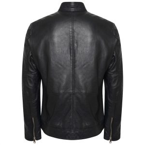 This image shows a Barneys Originals Men's Real Leather Biker Jacket with Tab Neck Collar. This image focuses on the back of the jacket.
