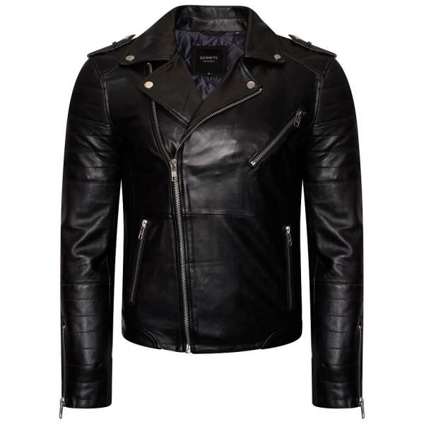 Image displays the Barneys Originals real leather jacket with quilted arm detailing.