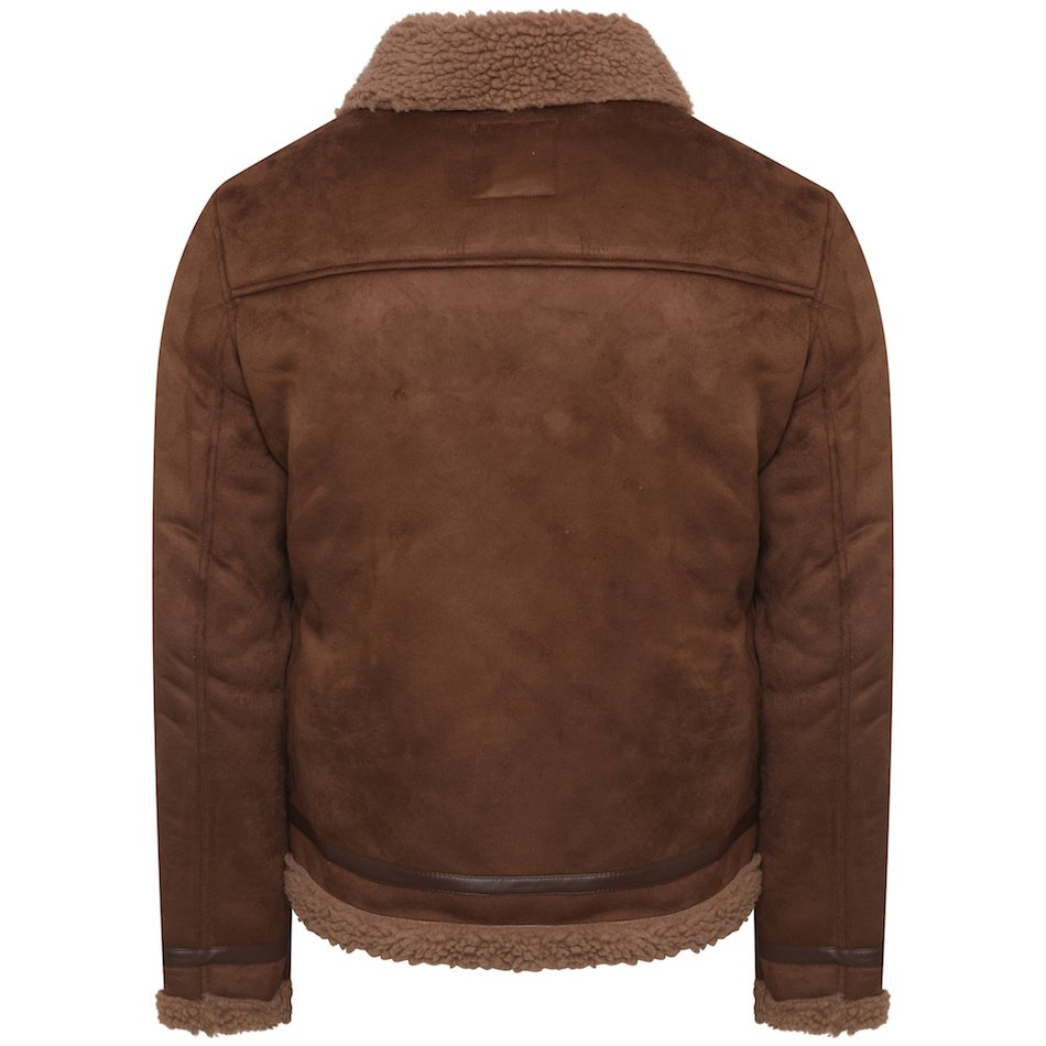 This image shows a Barneys Originals Men's Brown Faux Shearling Jacket. This picture focuses on the back of the jacket.