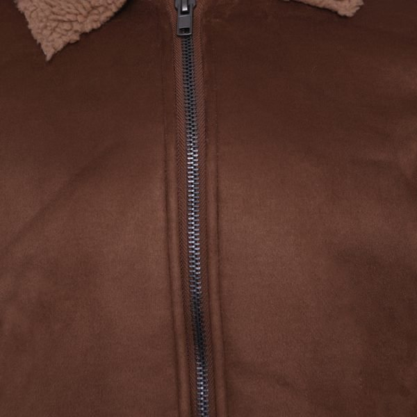 This image shows a Barneys Originals Men's Brown Faux Shearling Jacket. This image focuses on the zip of the jacket.