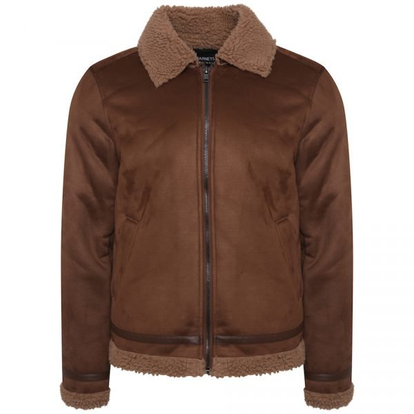 This image shows a Barneys Originals Men's Brown Faux Shearling Jacket.