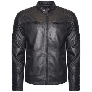This image shows a Barneys Originals Men's Matte Black Real Leather Jacket. The jacket has shoulder panelling.