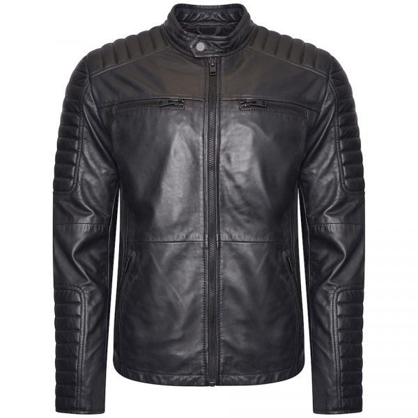 This image shows a Barneys Originals Men's Matte Black Real Leather Jacket. The jacket has shoulder panelling.
