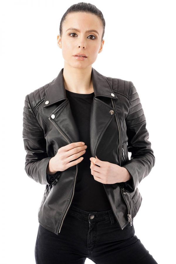 Image shows what the jacket looks like when worn fully unzipped. This image highlight the casual way to style your new leather biker jacket. This jacket has a silver zip which runs down the front of the jacket and four silver pop studs on the lapels.