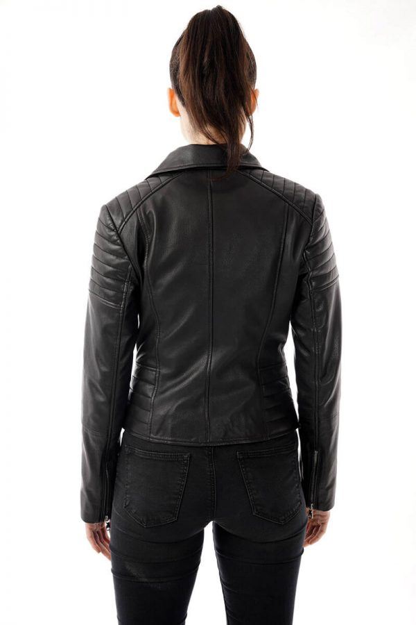 Image of the best selling 285 jacket worn by a model and shot from behind. You can clearly see the ribbed shoulder detail and matching ribbed detailing on the waist.