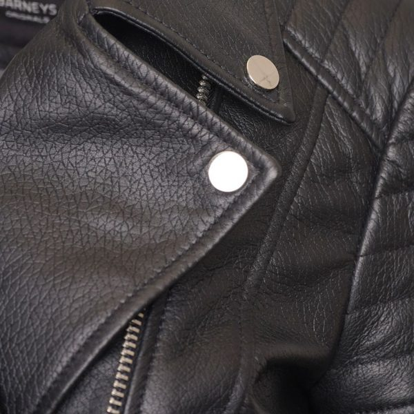 Real Leather Women's Asymmetric Biker Jacket with Shoulder and Waist Detailing. This image focuses on the silver trimmings and collar.