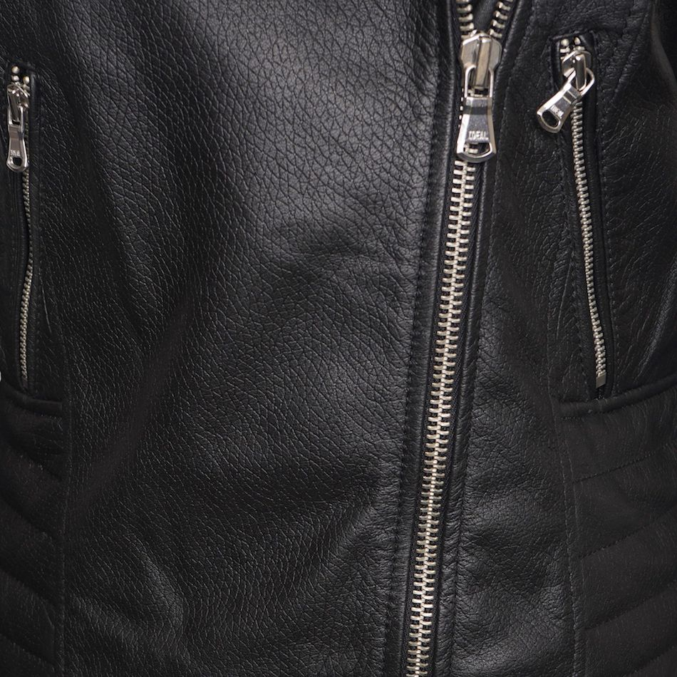 Real Leather Women's Asymmetric Biker Jacket with Shoulder and Waist Detailing. This image focuses on the zips.