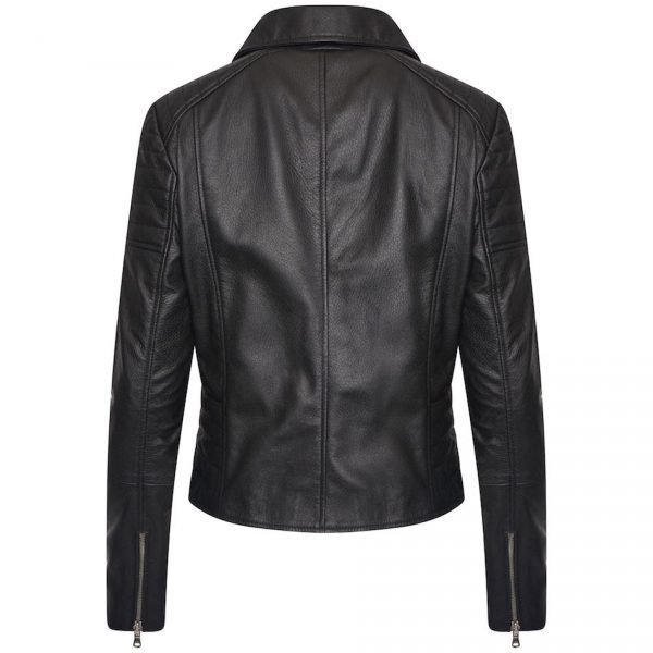 Real Leather Women's Asymmetric Biker Jacket with Shoulder and Waist Detailing. This image focuses on the back of the jacket.